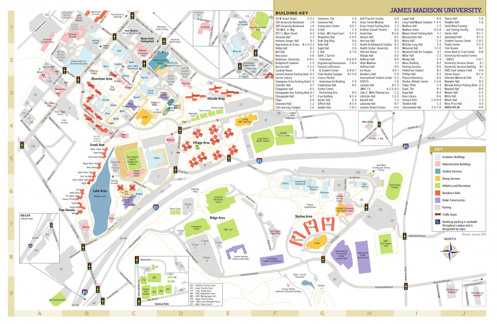 James Madison University - Campus Map within Duke University Campus Map Printable