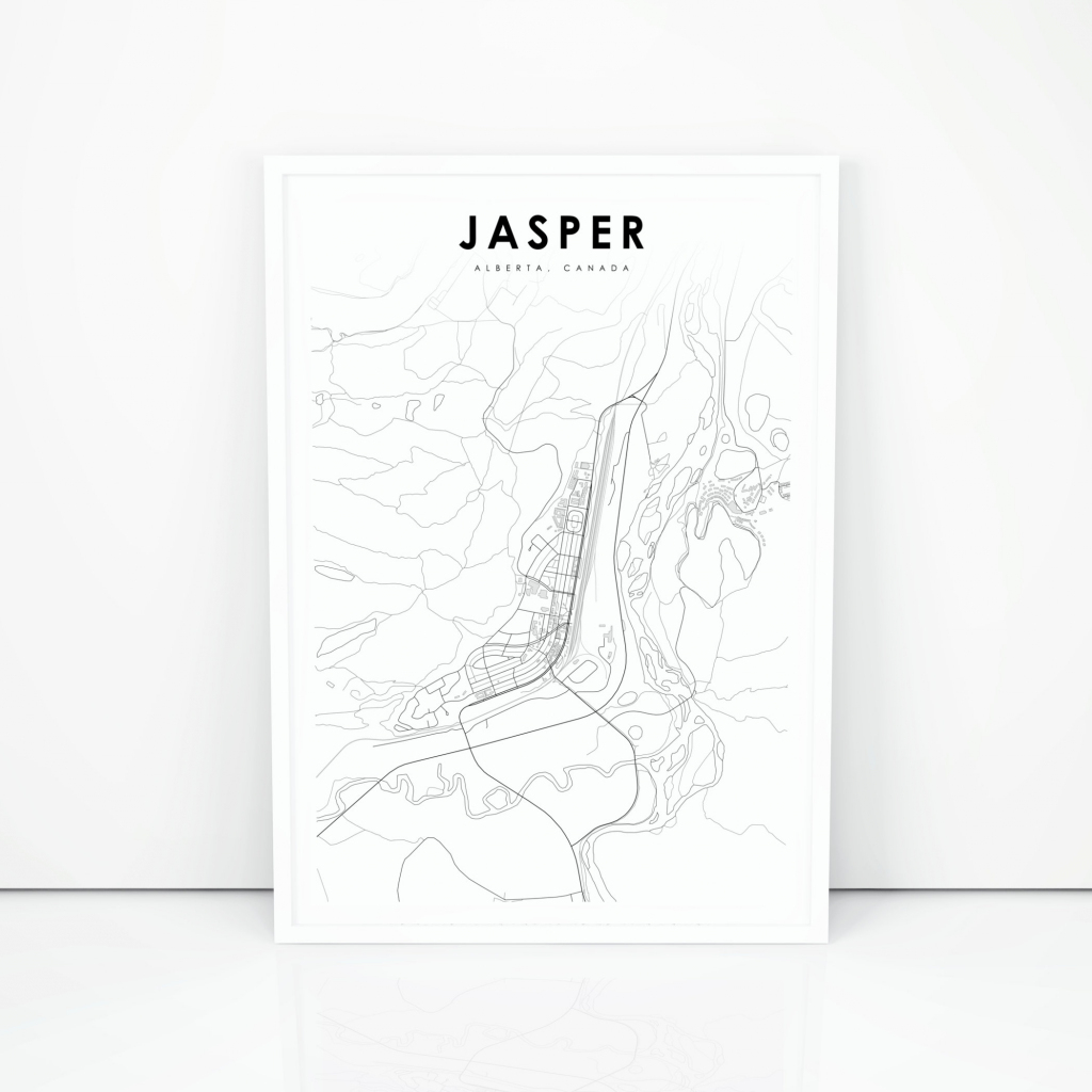 Jasper Map Print Alberta Ab Canada Map Art Poster Banff | Etsy intended for Printable Map Of Alberta