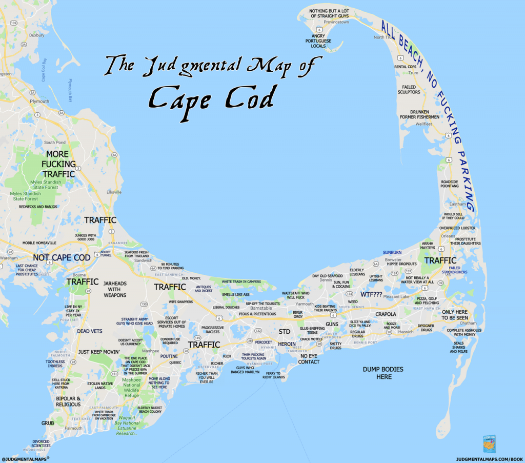 Judgmental Maps — Cape Cod, Macape Cod Chris Copr. 2018 Cape with Printable Map Of Cape Cod Ma