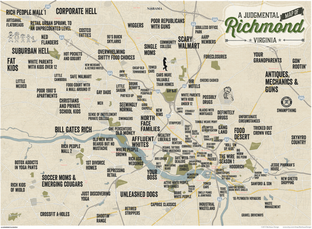 Judgmental Maps — Richmond, Vabenhaus Design Copr. 2015 Benhaus throughout Printable Map Of Richmond Va