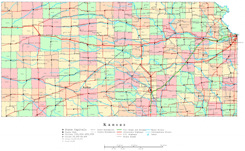 Kansas Printable Map intended for Printable Map Of Kansas