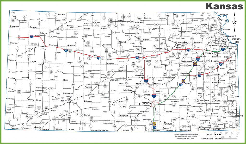 Kansas Road Map throughout Printable Kansas Map With Cities