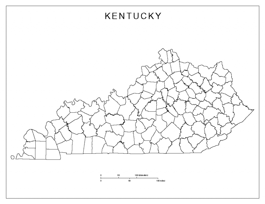 Kentucky Blank Map inside Printable County Maps