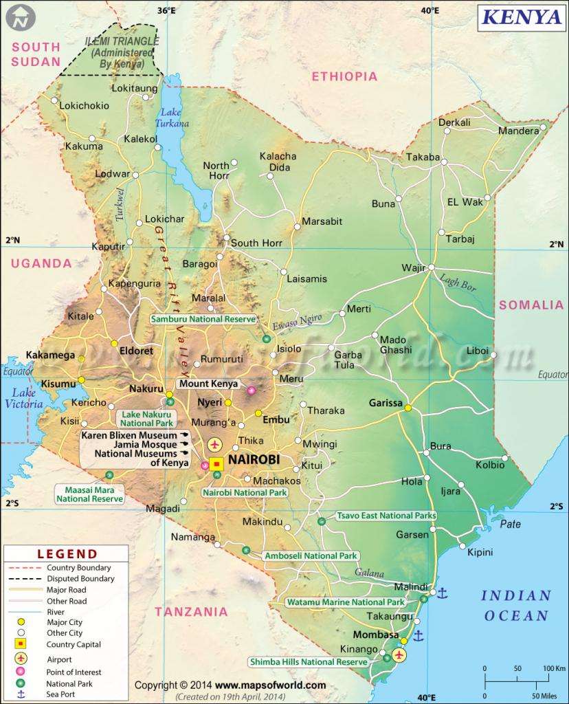 Kenya Map | Map Of Kenya intended for Printable Map Of Kenya