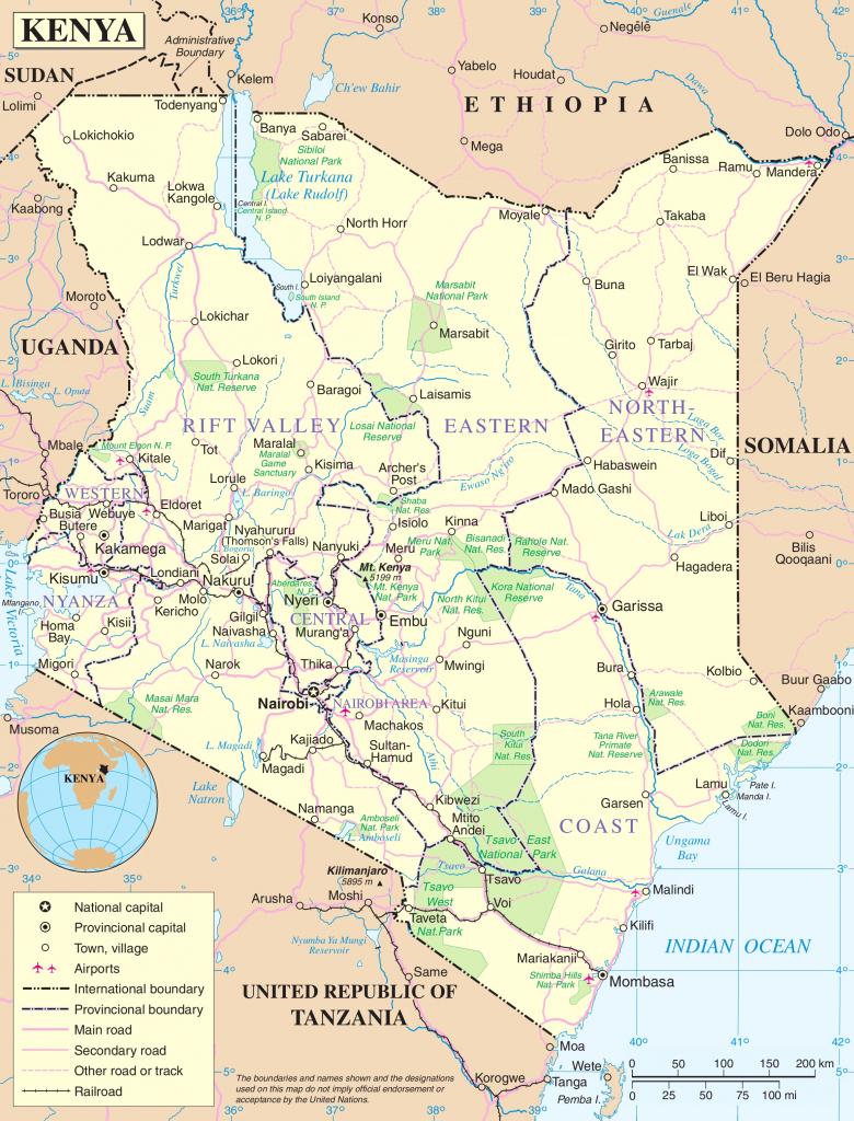 Kenya Political Map pertaining to Printable Map Of Kenya