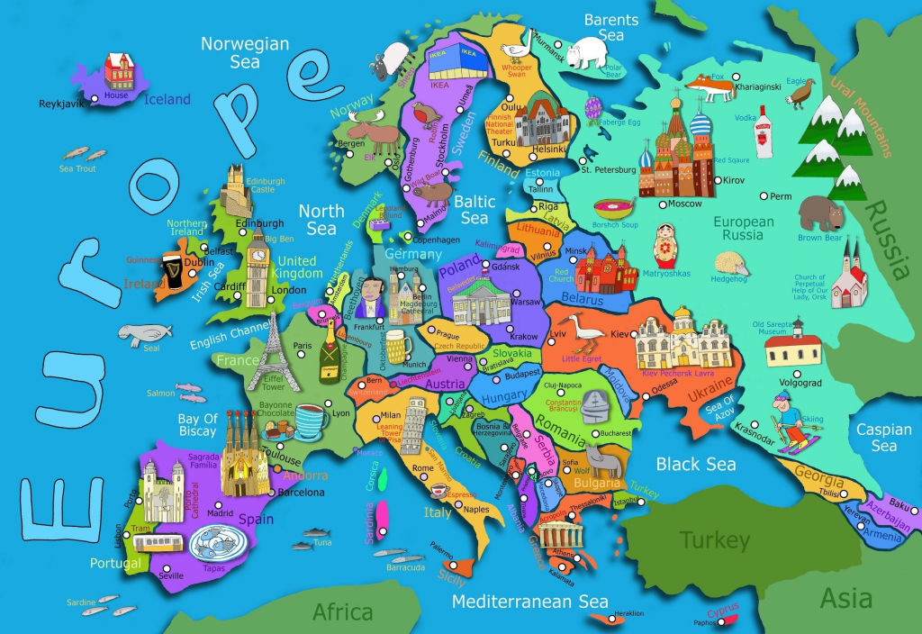 Kids Map Of Europe Maps Com In For Printable Asia 7 - World Wide Maps for Map Of Europe For Kids Printable