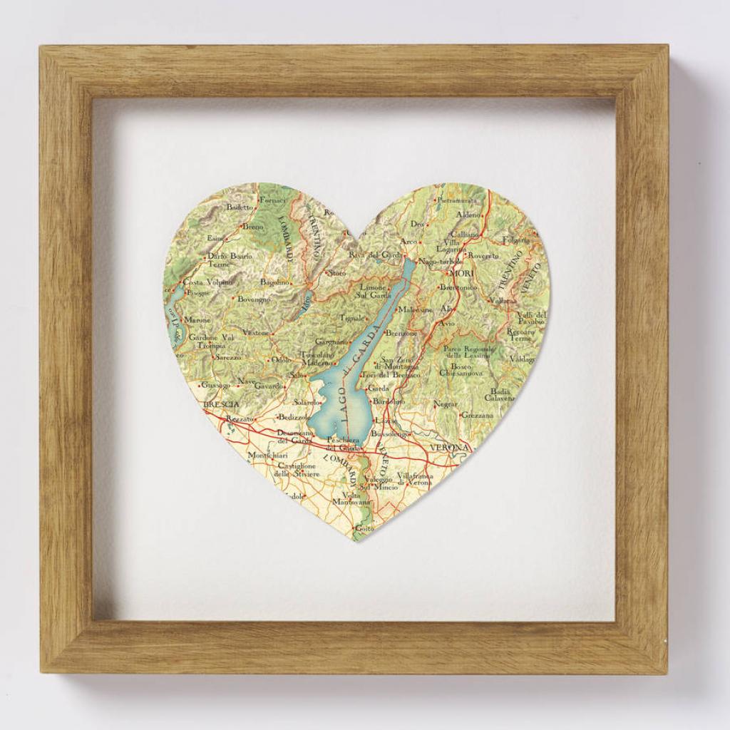 Lake Garda Italy Map Heart Printbombus | Notonthehighstreet throughout Printable Map Of Lake Garda