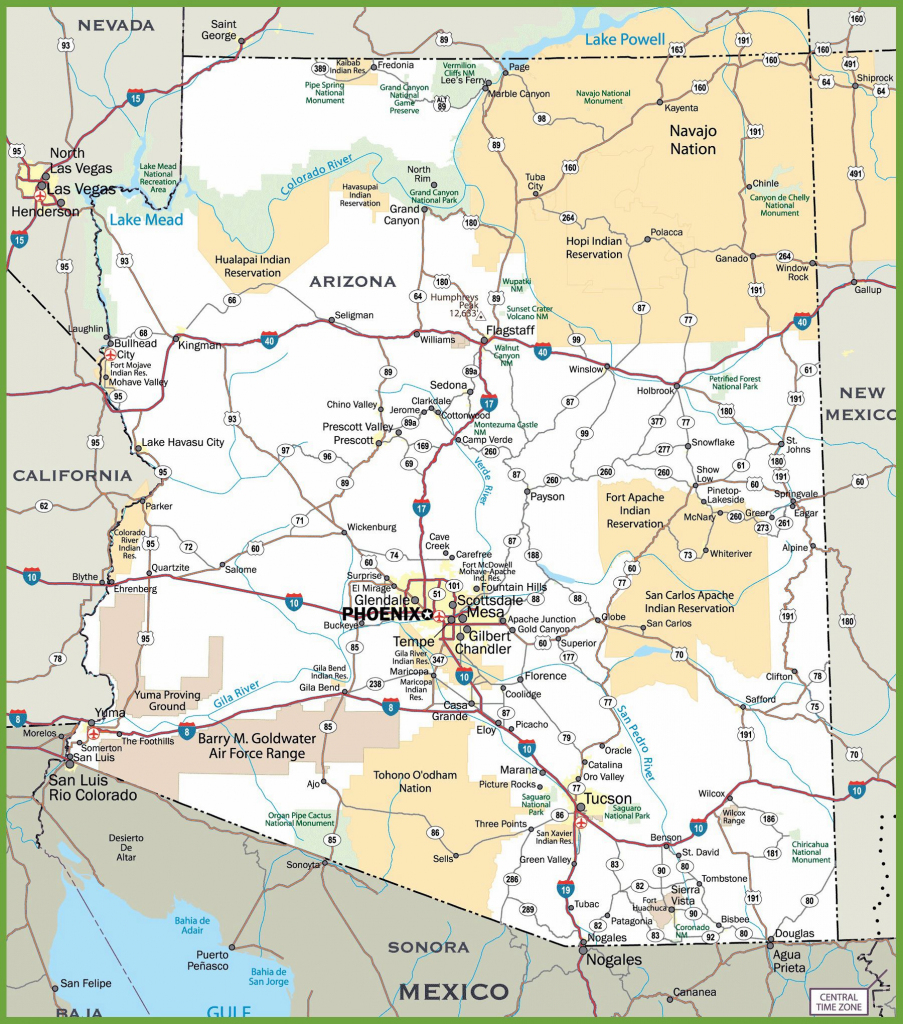 Large Arizona Maps For Free Download And Print | High-Resolution And inside Printable Map Of Tucson Az