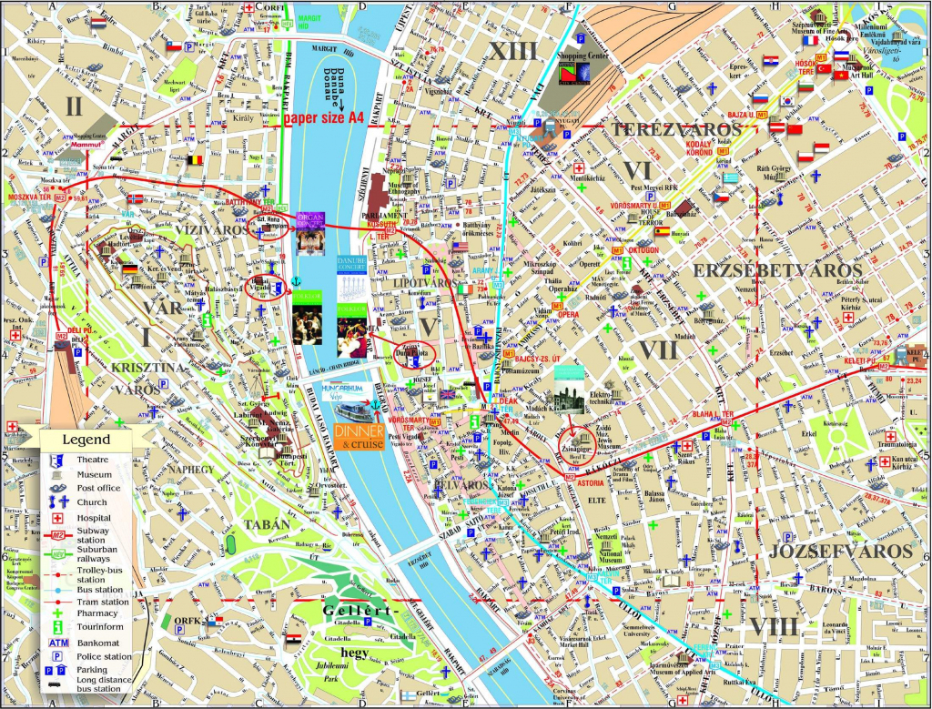 Large Budapest Maps For Free Download And Print   High-Resolution with Budapest Tourist Map Printable
