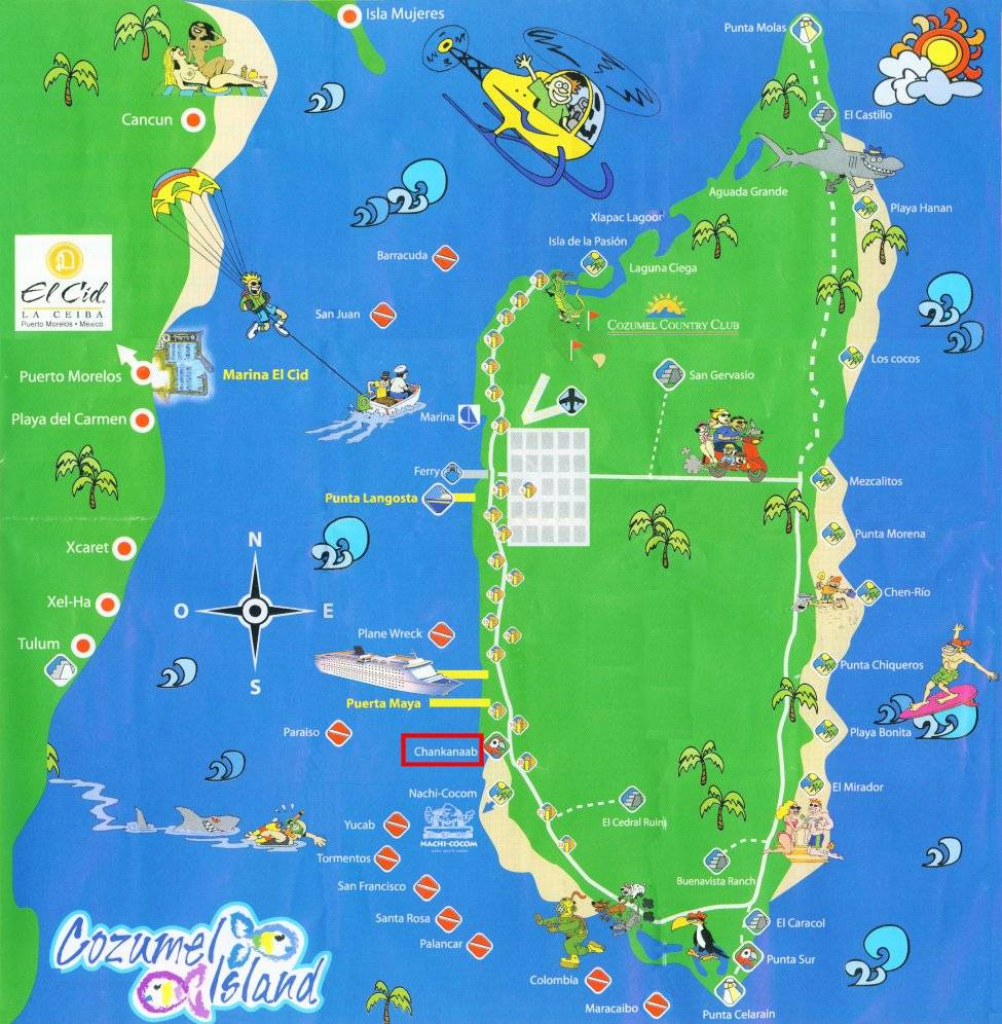 Large Cozumel Maps For Free Download And Print | High-Resolution And inside Printable Street Map Of Cozumel