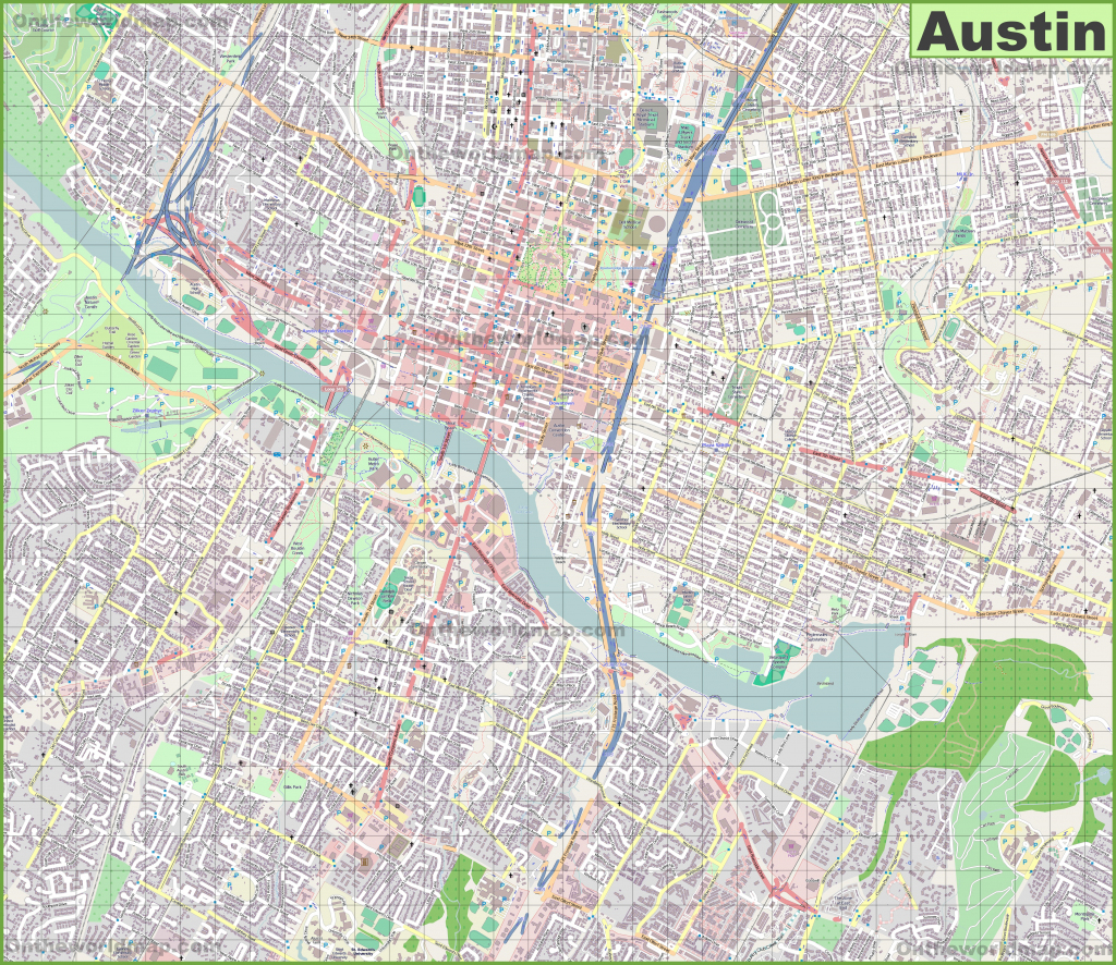 Large Detailed Map Of Austin with Printable Map Of Austin