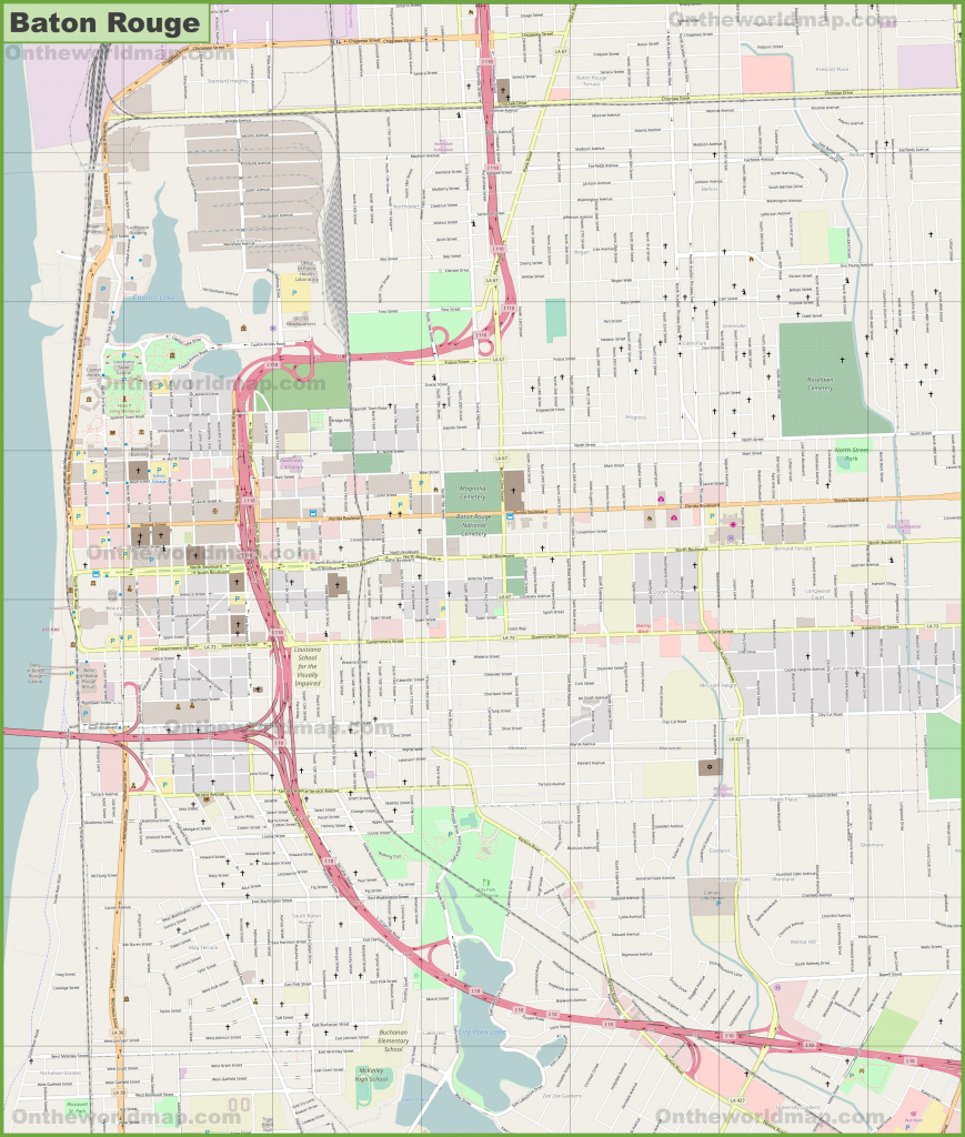 Large Detailed Map Of Baton Rouge pertaining to Printable Map Of Baton Rouge