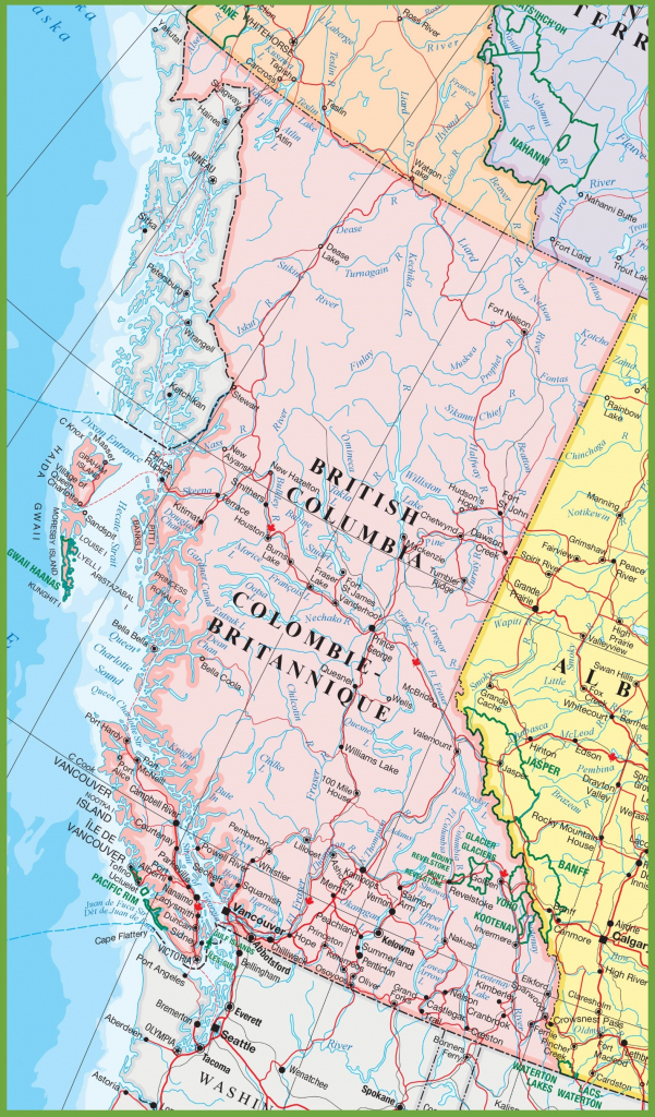 Large Detailed Map Of British Columbia With Cities And Towns within Printable Map Of Canada With Cities