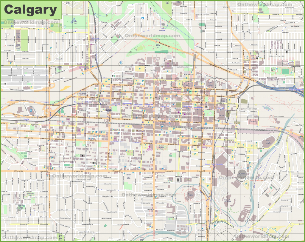 Large Detailed Map Of Calgary with regard to Printable Map Of Calgary