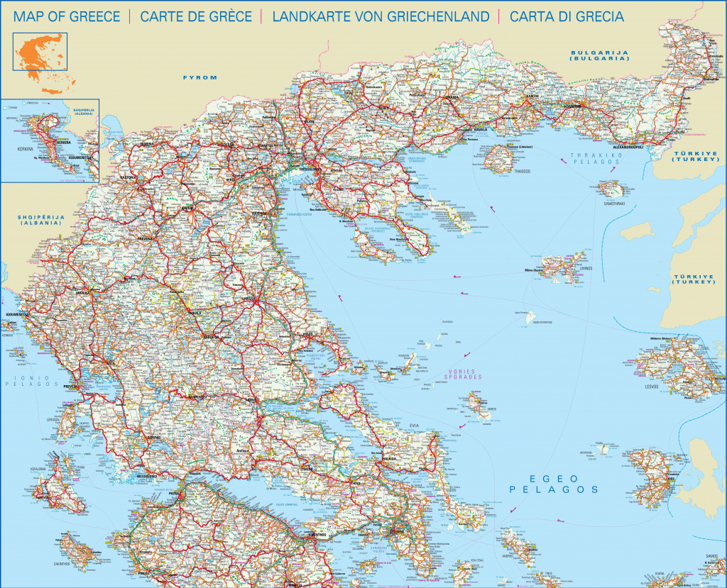 Large Detailed Map Of Central And North Of Greece With Cities And Towns inside Printable Map Of Greece