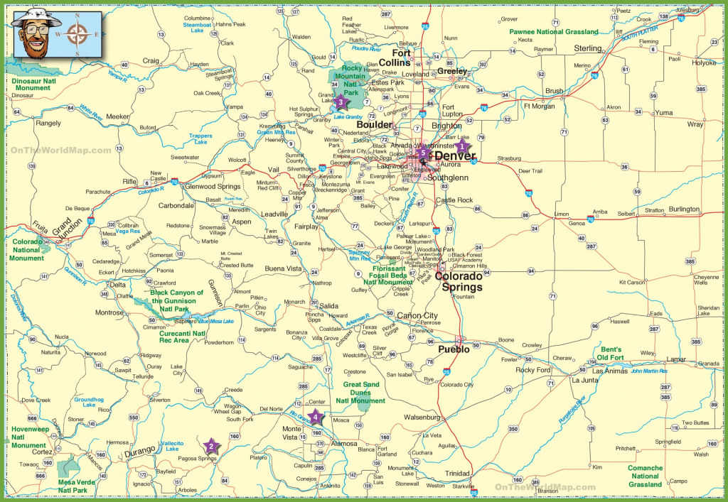 Large Detailed Map Of Colorado With Cities And Roads with regard to Printable Road Map Of Colorado