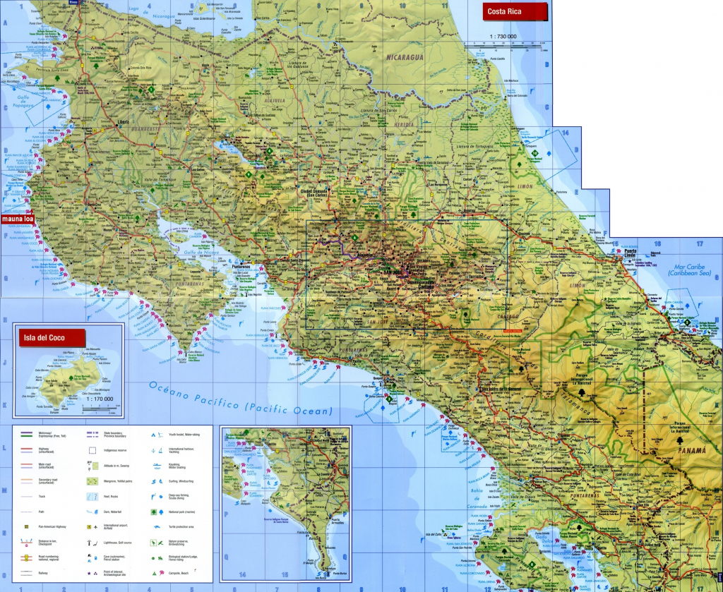 Large Detailed Map Of Costa Rica With Cities And Towns for Free Printable Map Of Costa Rica