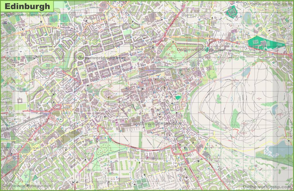 Large Detailed Map Of Edinburgh regarding Edinburgh City Map Printable