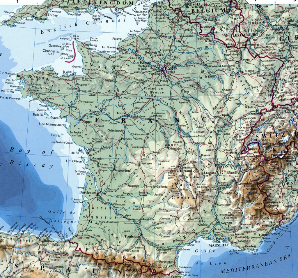 Large Detailed Map Of France With Cities intended for Large Printable Map Of France