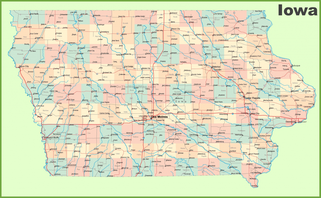 Large Detailed Map Of Iowa With Cities And Towns inside Printable Iowa Road Map
