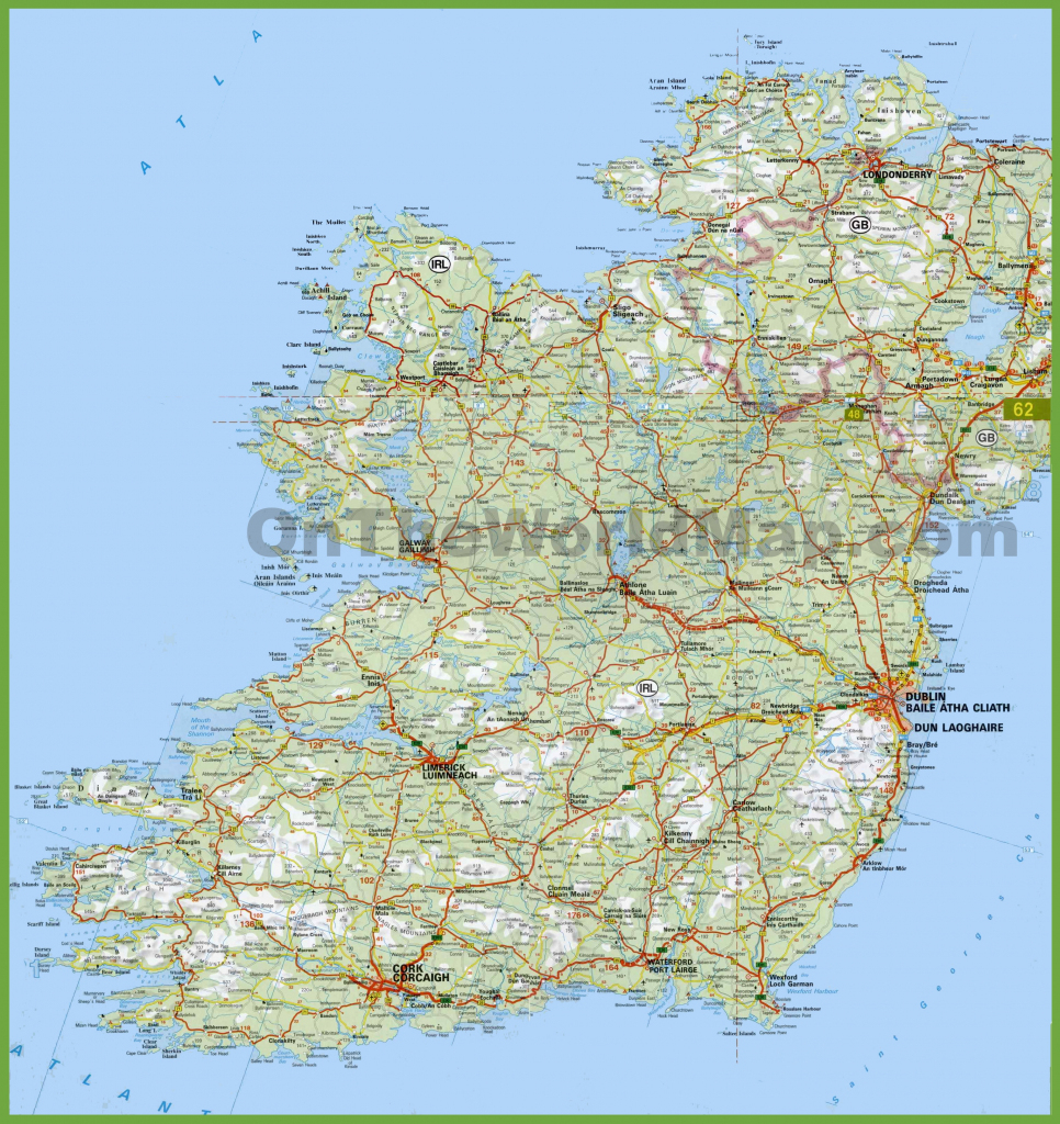 Large Detailed Map Of Ireland With Cities And Towns inside Printable Road Map Of Ireland