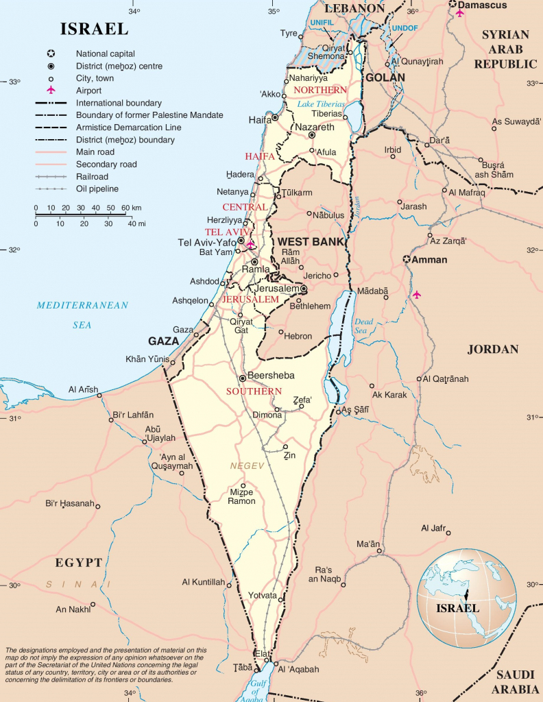 Large Detailed Map Of Israel throughout Printable Map Of Israel
