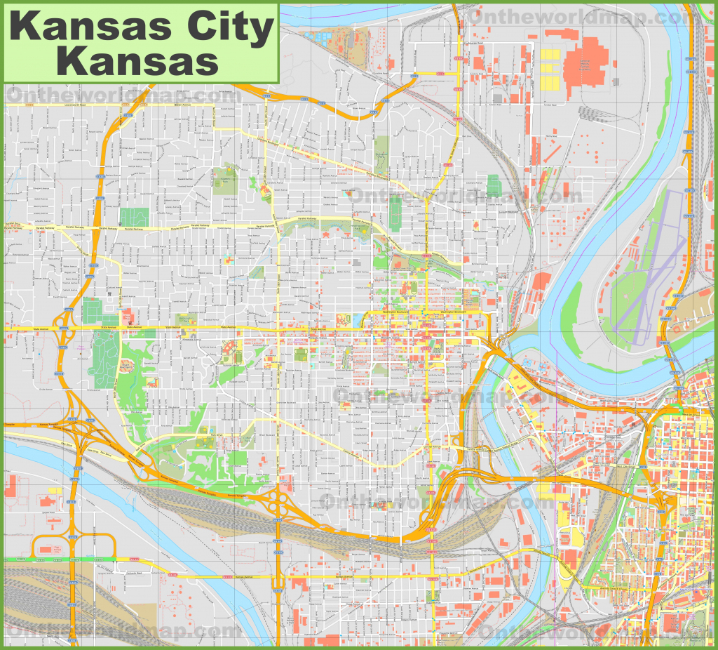 Large Detailed Map Of Kansas City (Kansas) with regard to Printable Map Of Kansas