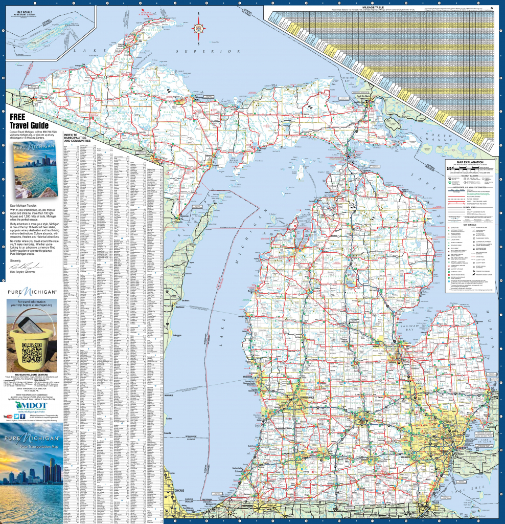 Large Detailed Map Of Michigan With Cities And Towns in Michigan County Maps Printable
