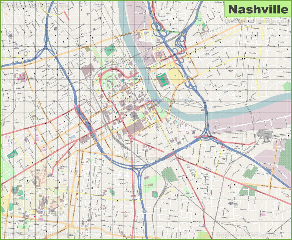 Large Detailed Map Of Nashville for Printable Map Of Nashville Tn