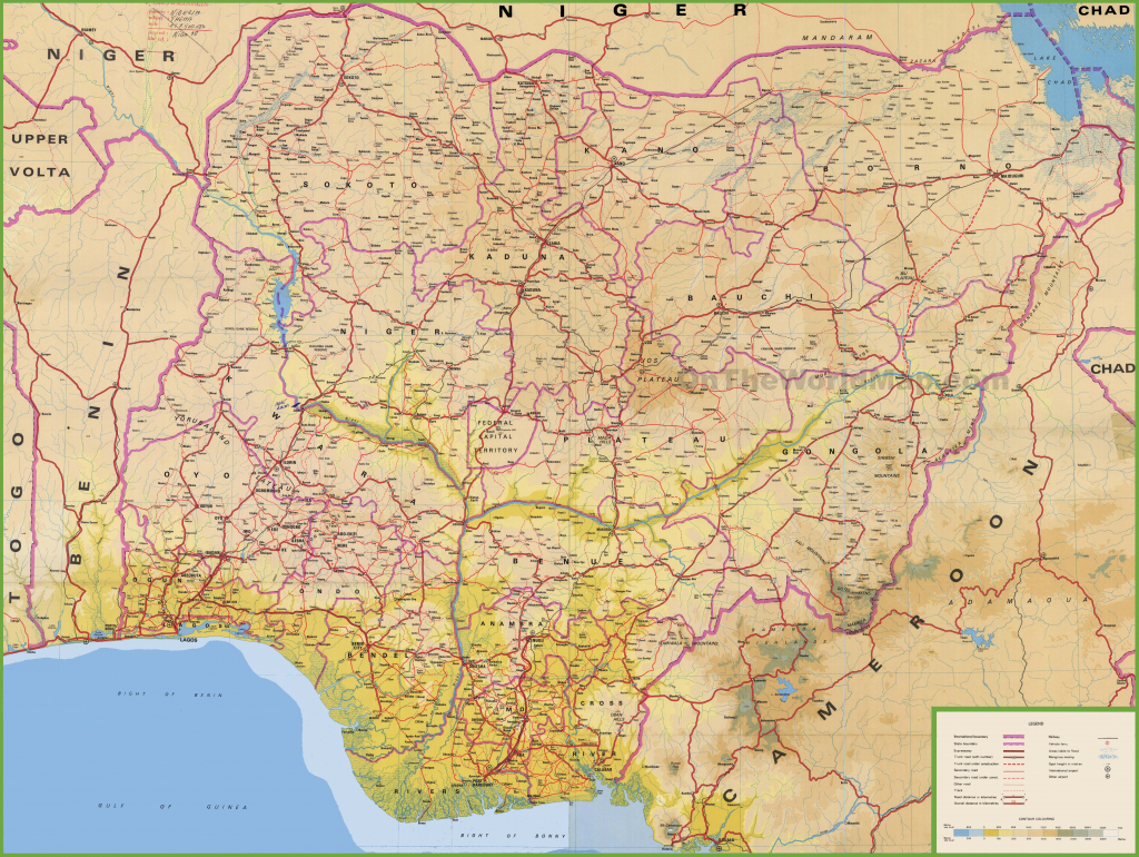 Large Detailed Map Of Nigeria With Cities And Towns within Printable Map Of Nigeria