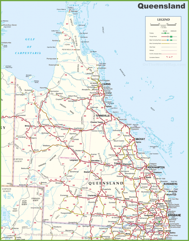 Large Detailed Map Of Queensland With Cities And Towns inside Queensland Road Maps Printable