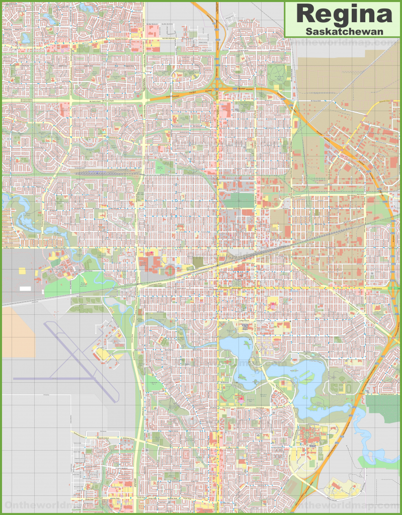 Large Detailed Map Of Regina (Saskatchewan) with Printable Map Of Saskatchewan