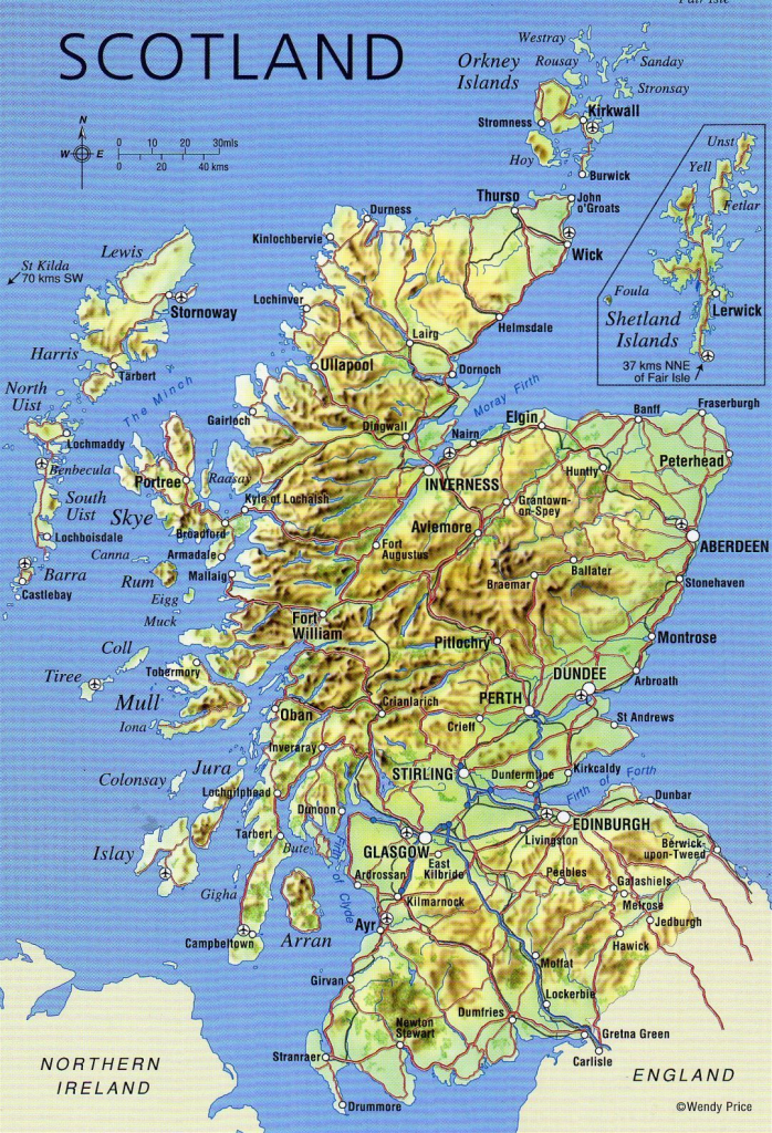 Large Detailed Map Of Scotland With Relief, Roads, Major Cities And throughout Detailed Map Of Scotland Printable