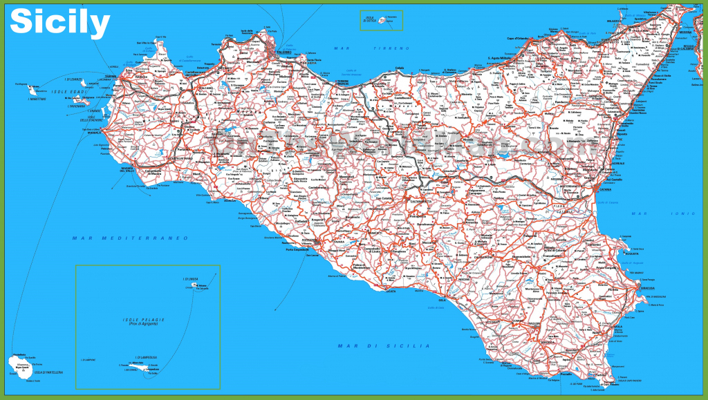 Large Detailed Map Of Sicily With Cities And Towns within Printable Map Of Sicily