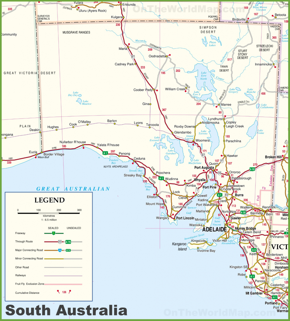 Large Detailed Map Of South Australia With Cities And Towns for Printable Map Of Australia With States And Capital Cities
