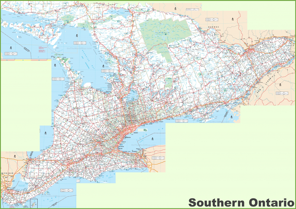 Large Detailed Map Of Southern Ontario for Free Printable Map Of Ontario