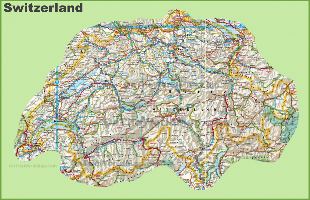 Large Detailed Map Of Switzerland With Cities And Towns intended for Printable Map Of Switzerland