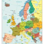 Large Detailed Political Map Of Europe With All Capitals And Major In Printable Map Of Europe With Cities