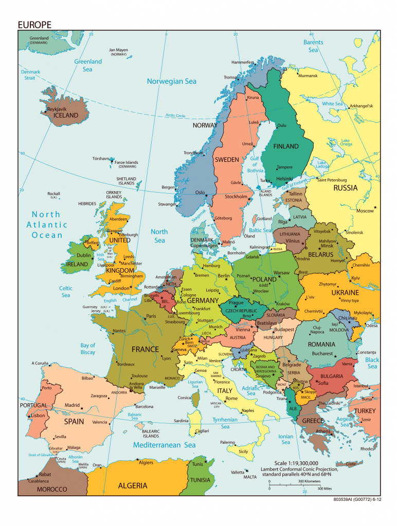 Large Detailed Political Map Of Europe With All Capitals And Major pertaining to Europe Map With Cities Printable