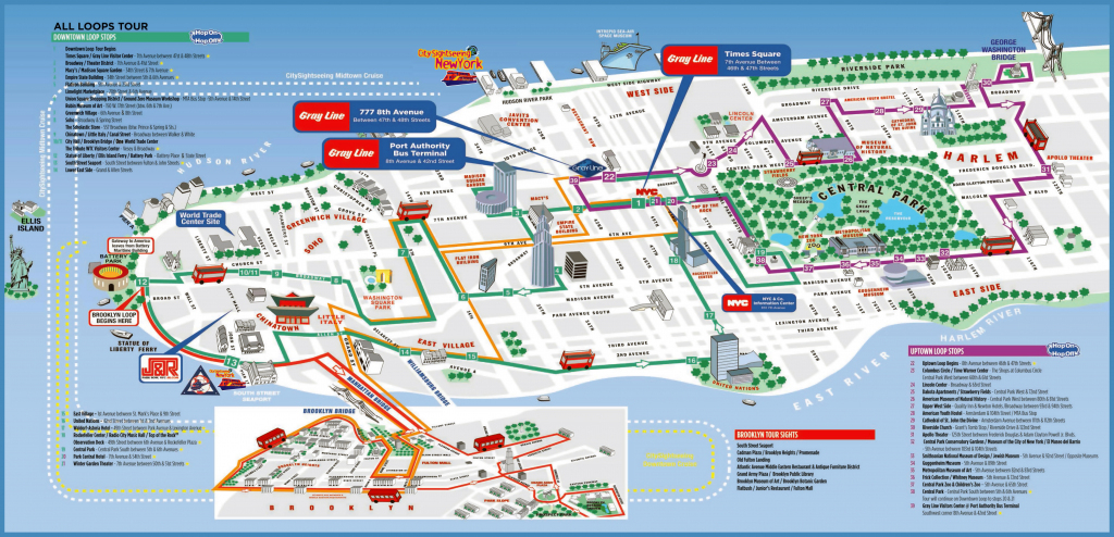 Large Detailed Printable Tourist Attractions Map Of Manhattan, New with regard to Printable Street Map Of Manhattan Nyc