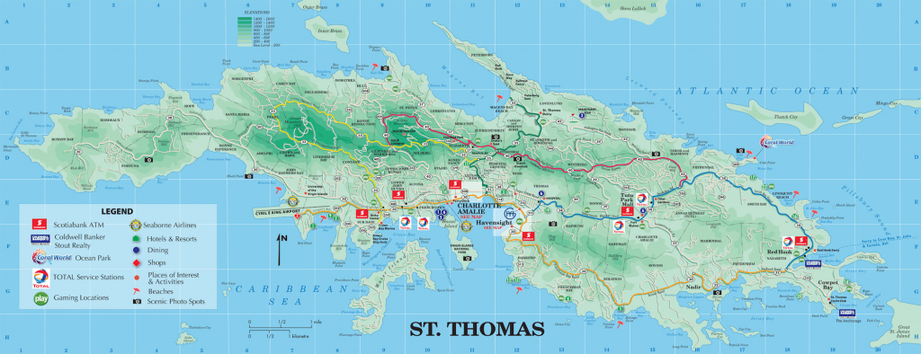 Large Detailed Road And Tourist Map Of St. Thomas U.s. Virgin regarding Printable Map Of St John Usvi