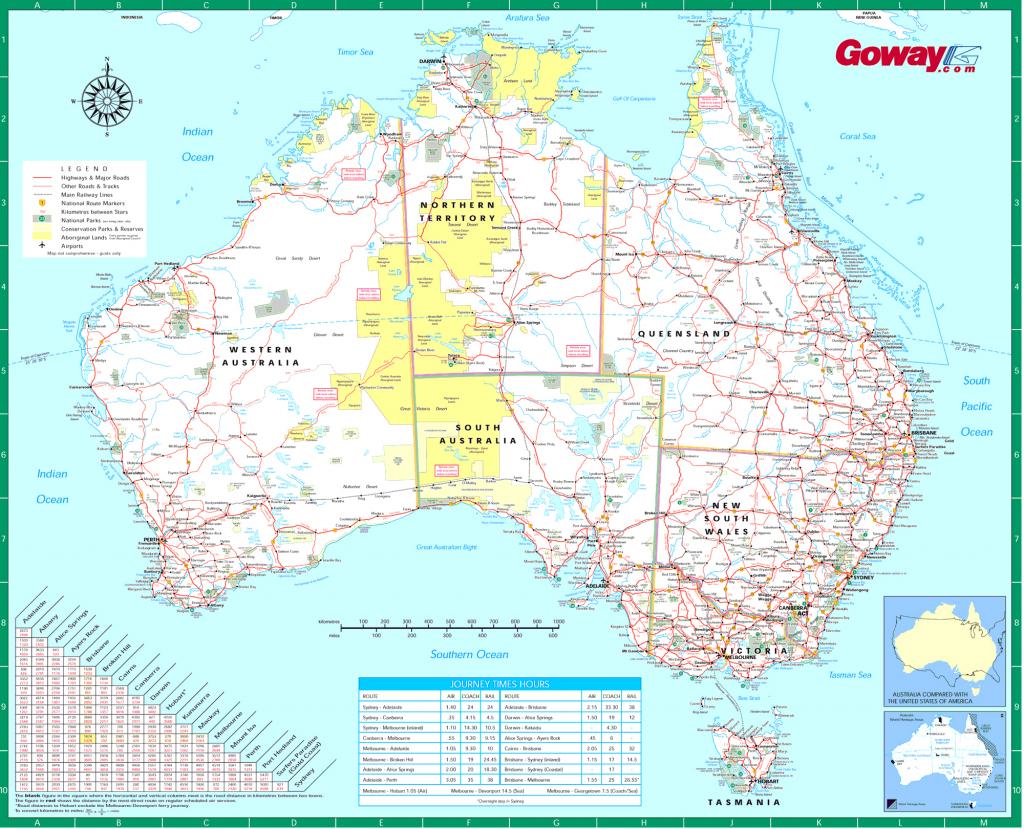 Large Detailed Road Map Of Australia. Australia Large Detailed Road in Printable Map Of Australia