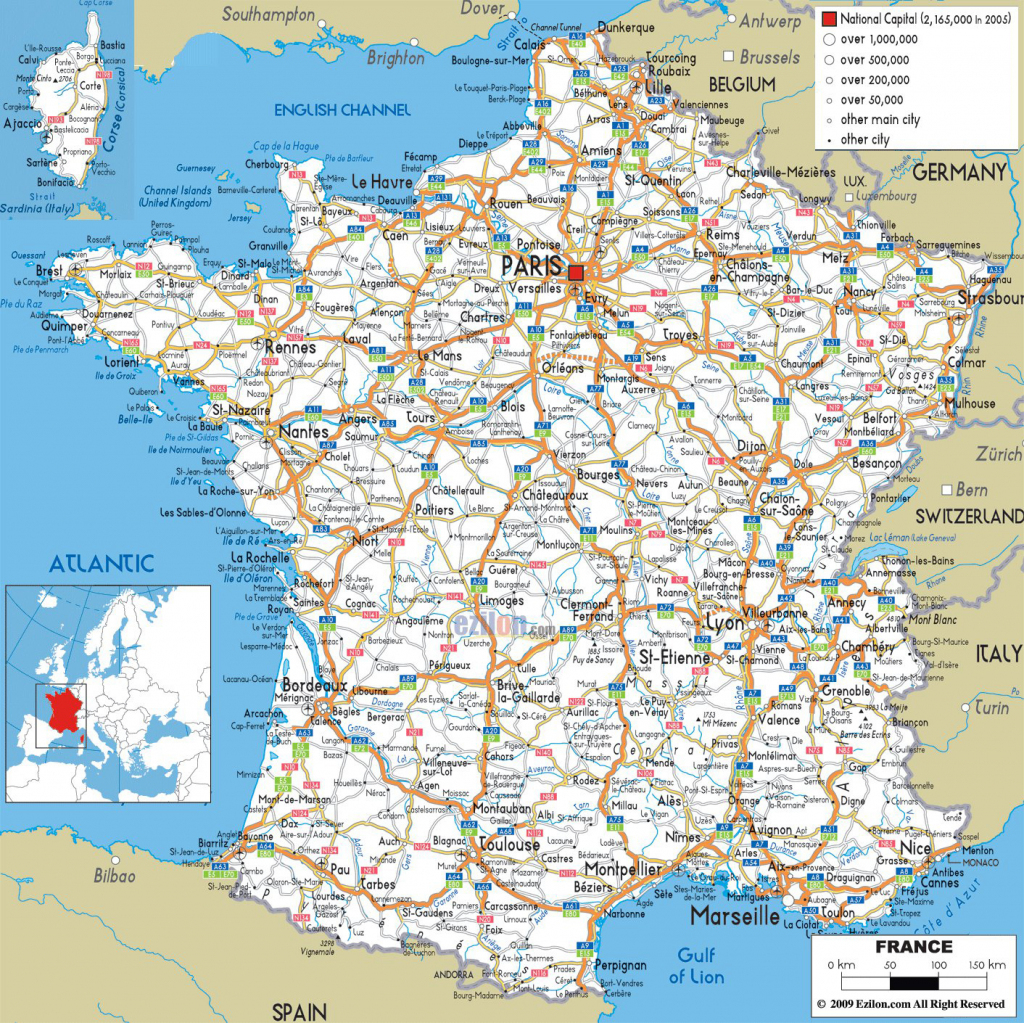 Large Detailed Road Map Of France With All Cities And Airports inside Printable Map Of France With Cities