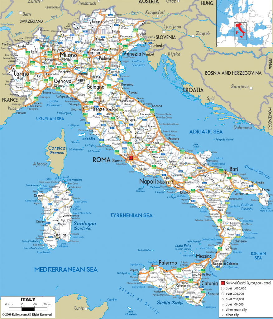 Large Detailed Road Map Of Italy With All Cities And Airports pertaining to Printable Map Of Italy With Cities