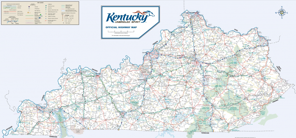 Large Detailed Road Map Of Kentucky within Printable Map Of Kentucky