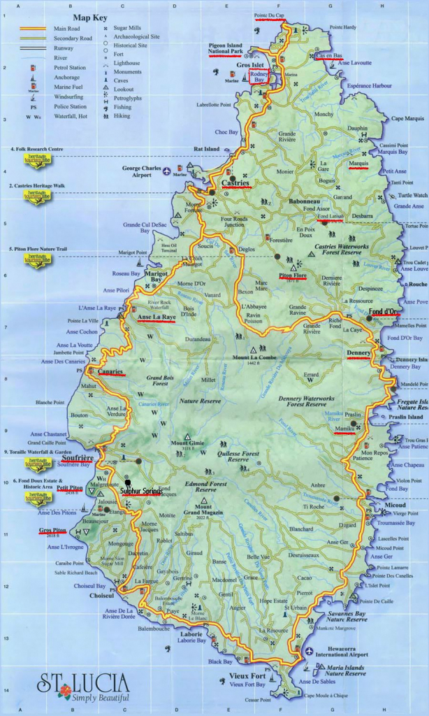 Large Detailed Road Map Of Saint Lucia. Saint Lucia Large Detailed within Printable Road Map Of St Maarten