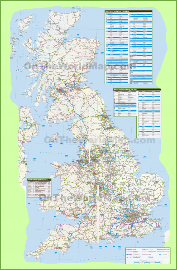 Large Detailed Road Map Of Uk inside Printable Road Map Of Scotland