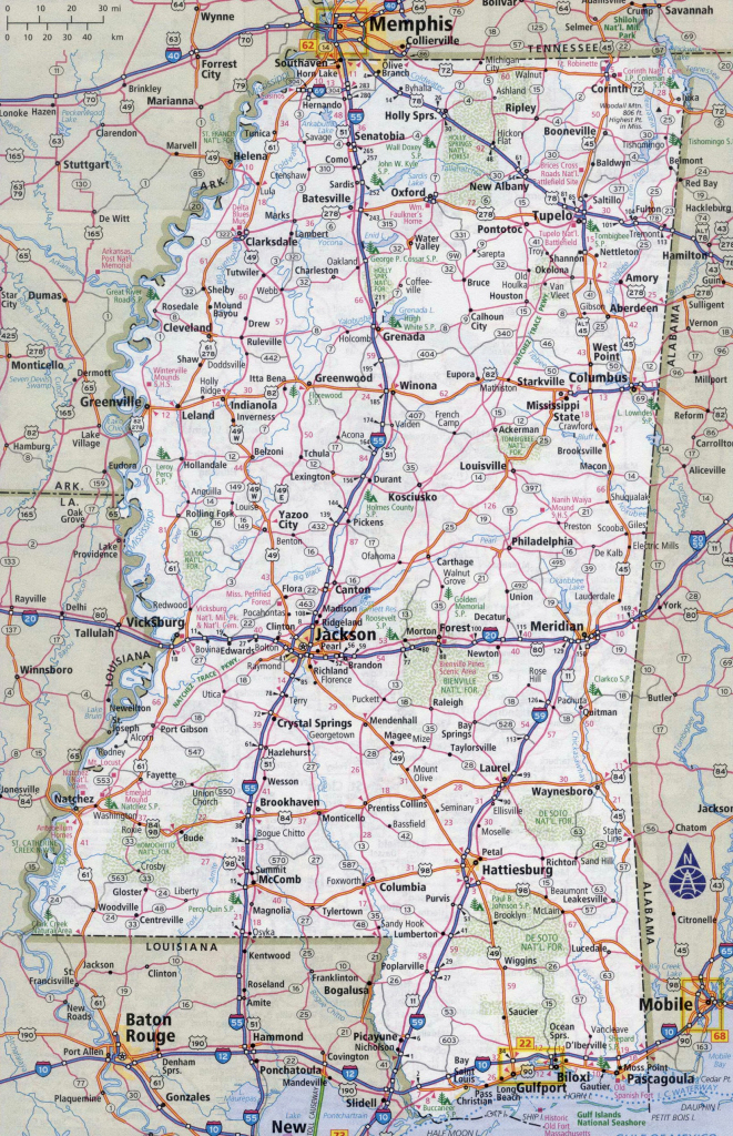 Large Detailed Roads And Highways Map Of Mississippi State With regarding Printable Map Of Mississippi