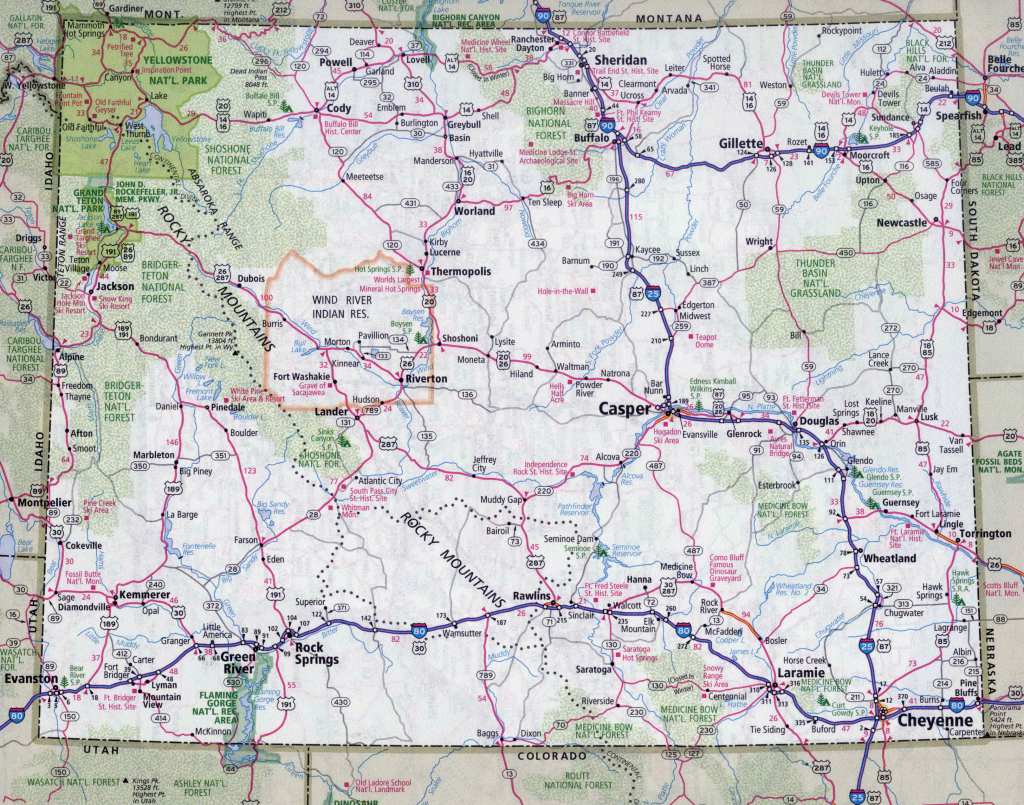 Large Detailed Roads And Highways Map Of Wyoming State With All within Wyoming State Map Printable