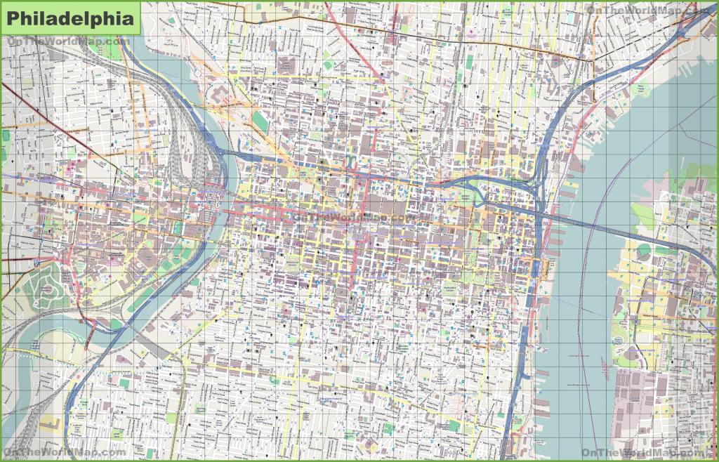 Large Detailed Street Map Of Philadelphia regarding Philadelphia City Map Printable